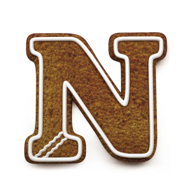 진저는 폰트입니다. 크리스마스 비스킷 알파벳 개념입니다. 큰 편지 N 스톡 사진