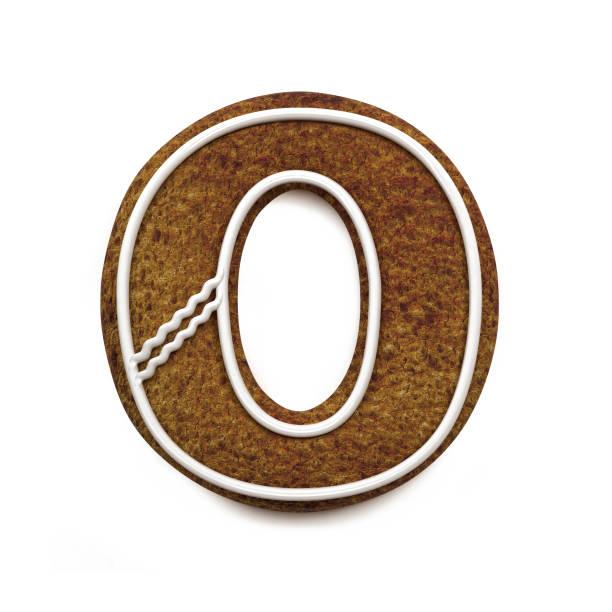 진저는 폰트입니다. 크리스마스 비스킷 알파벳 개념입니다. 큰 문자 O 스톡 사진