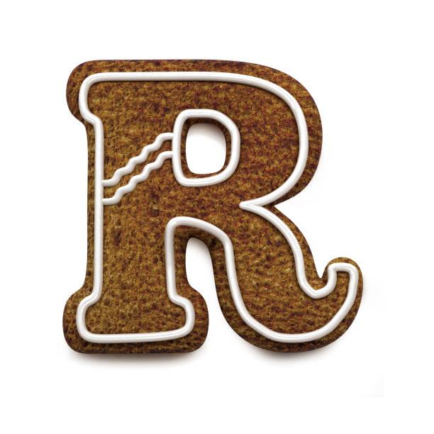 진저는 폰트입니다. 크리스마스 비스킷 알파벳 개념입니다. 큰 편지 R 스톡 사진