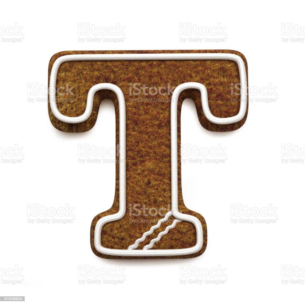 진저는 폰트입니다. 크리스마스 비스킷 알파벳 개념입니다. 큰 편지 T 스톡 사진