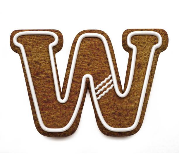진저는 폰트입니다. 크리스마스 비스킷 알파벳 개념입니다. 큰 편지 W 스톡 사진