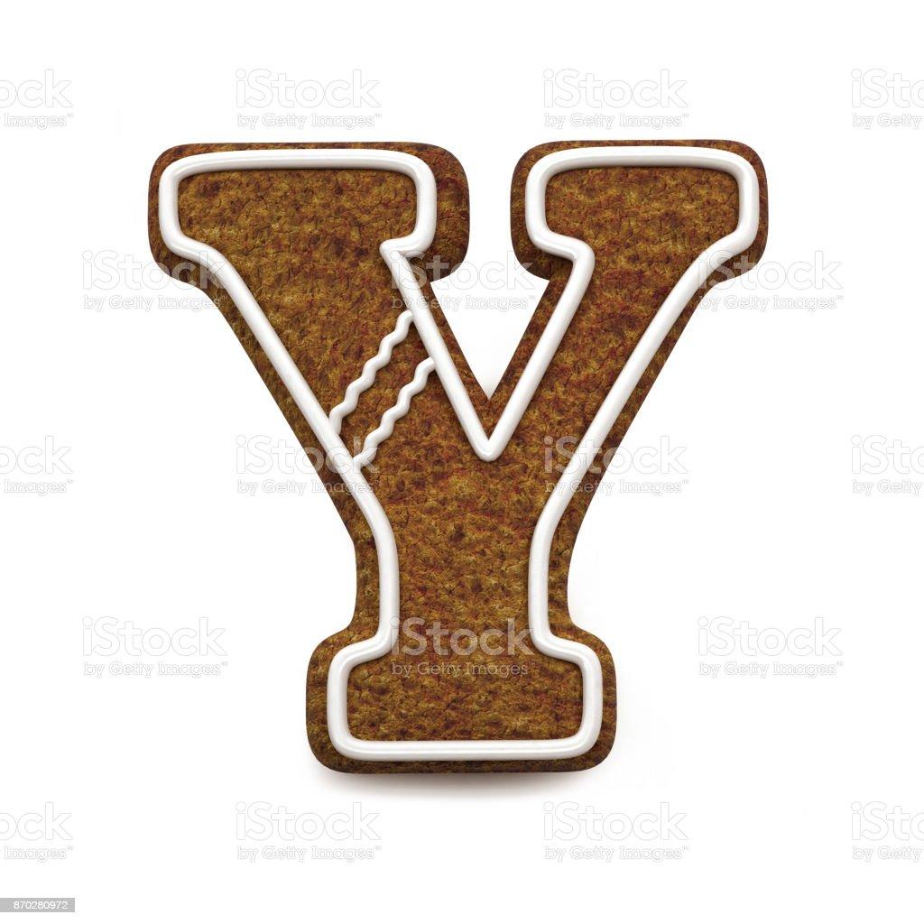 진저는 폰트입니다. 크리스마스 비스킷 알파벳 개념입니다. 큰 편지 Y 스톡 사진