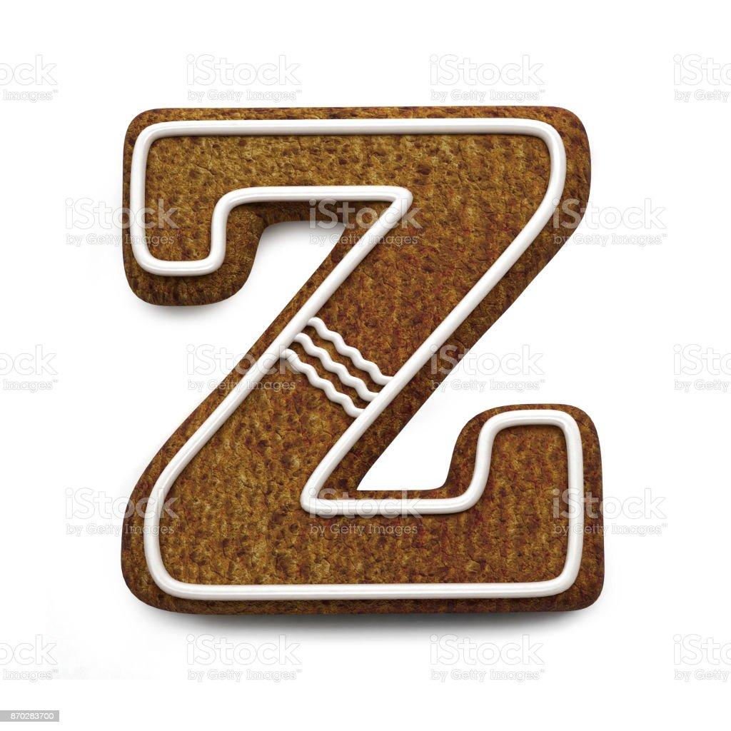 진저는 폰트입니다. 크리스마스 비스킷 알파벳 개념입니다. 큰 문자 Z 스톡 사진