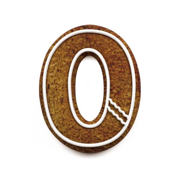 진저는 폰트입니다. 크리스마스 비스킷 알파벳 개념입니다. 번호 0 스톡 사진