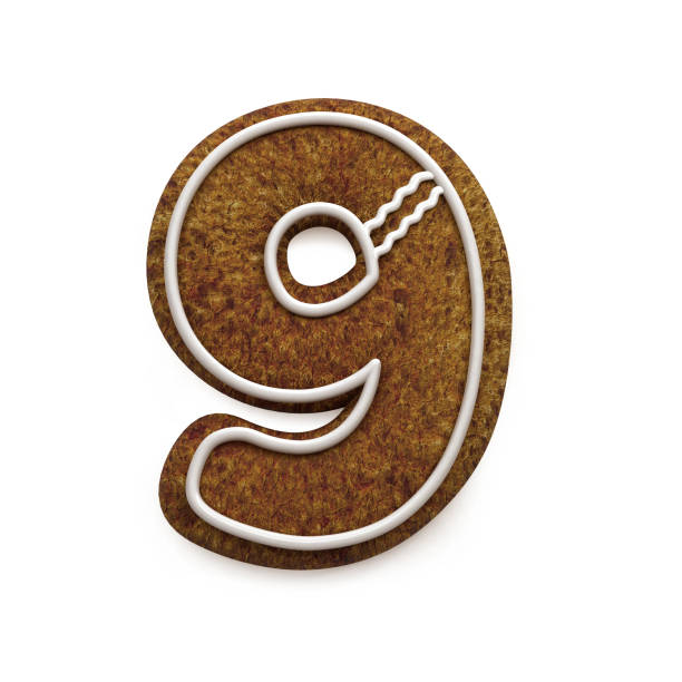 진저는 폰트입니다. 크리스마스 비스킷 알파벳 개념입니다. 번호 9 스톡 사진