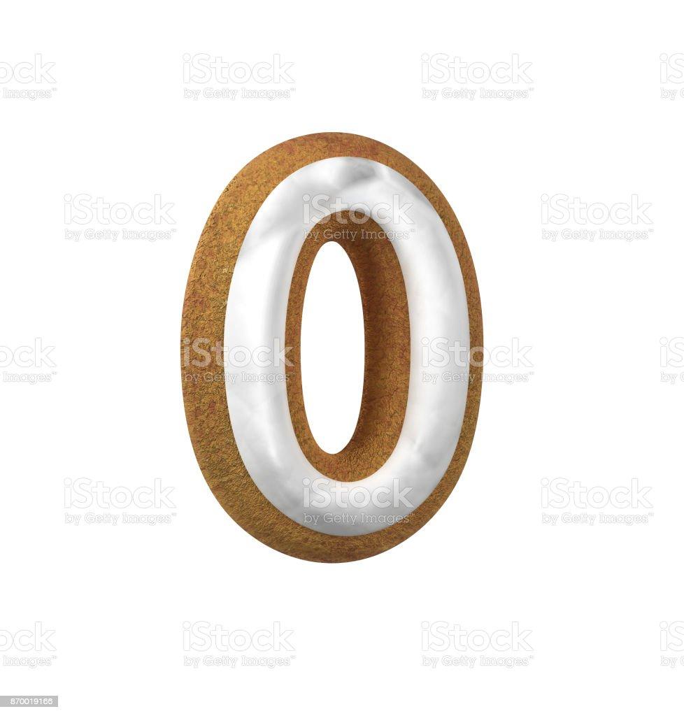 진저는 폰트입니다. 크리스마스 쿠키 알파벳 개념입니다. 번호 0 스톡 사진
