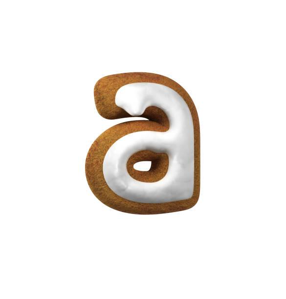 진저는 폰트입니다. 크리스마스 쿠키 알파벳 개념입니다. 작은 문자 A 스톡 사진
