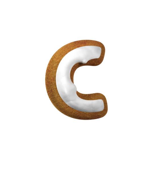 진저는 폰트입니다. 크리스마스 쿠키 알파벳 개념입니다. 소문자 C 스톡 사진