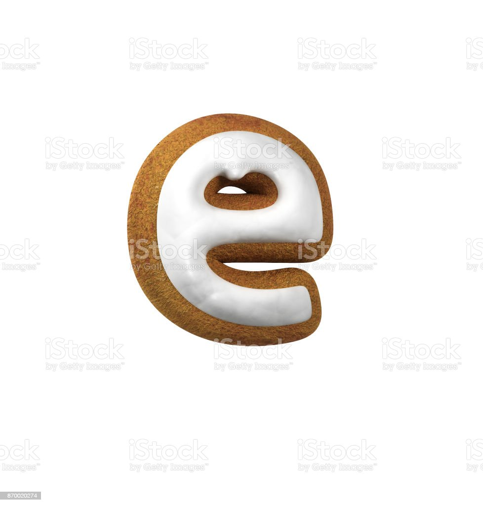 Gingerbread font. Christmas cookie alphabet concept. Small Letter E stock photo