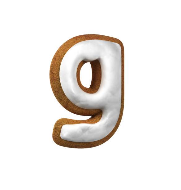 진저는 폰트입니다. 크리스마스 쿠키 알파벳 개념입니다. 작은 편지 G 스톡 사진