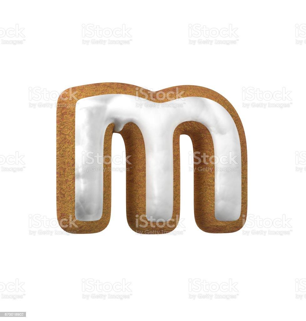진저는 폰트입니다. 크리스마스 쿠키 알파벳 개념입니다. 소문자 M 스톡 사진
