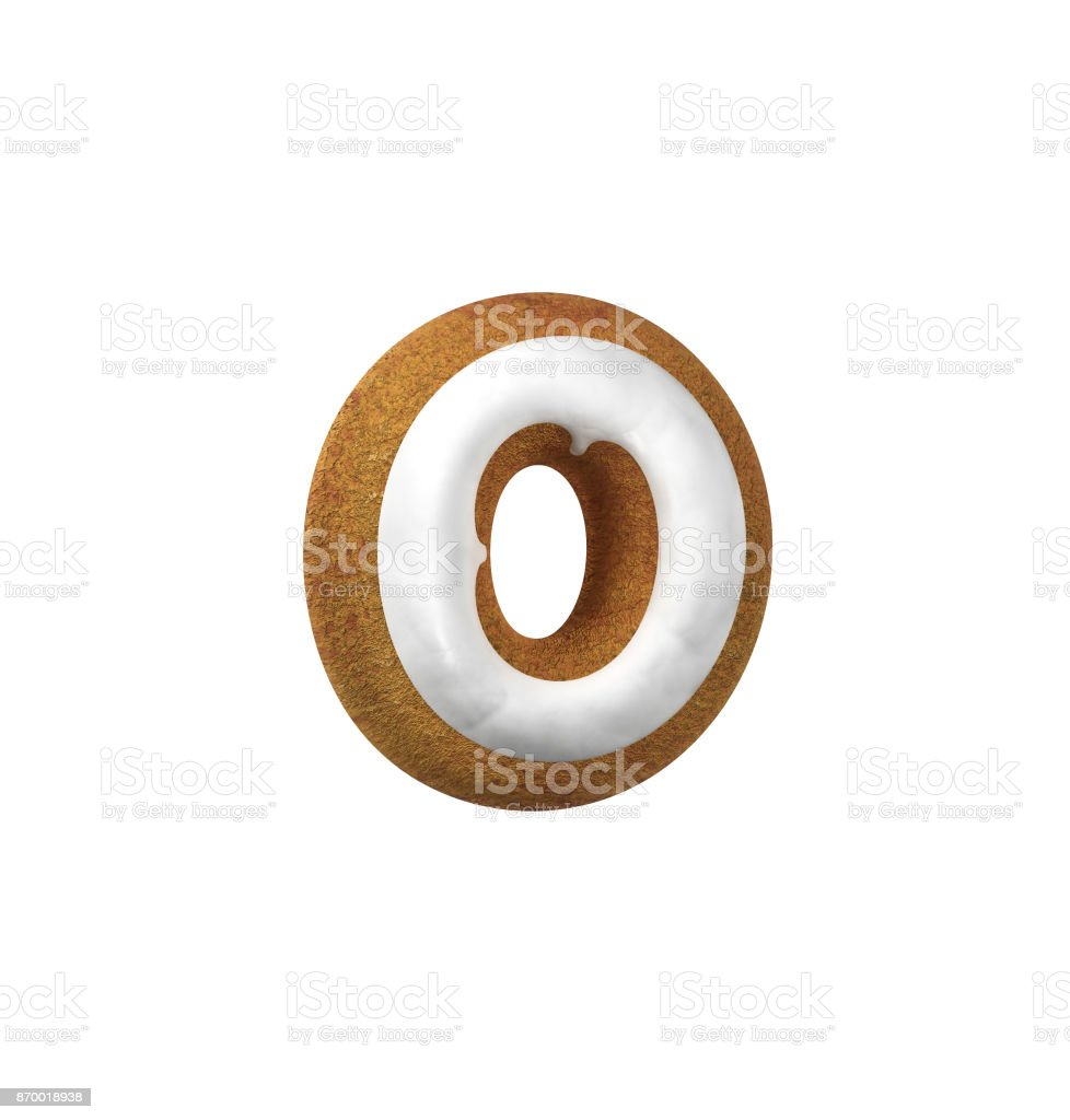 진저는 폰트입니다. 크리스마스 쿠키 알파벳 개념입니다. 소문자 O 스톡 사진