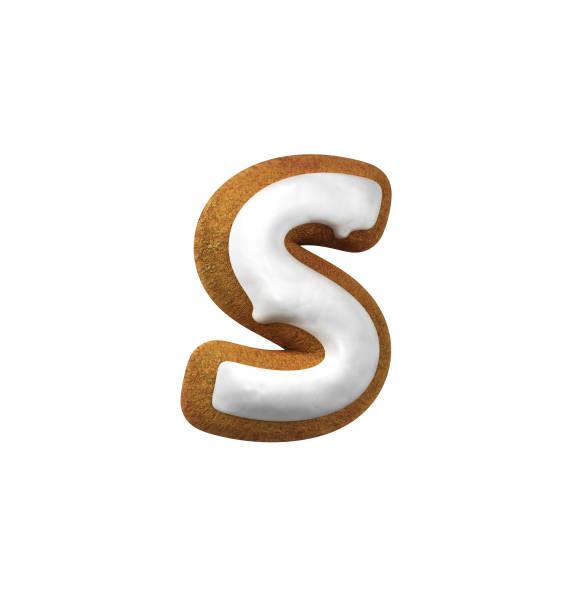 진저는 폰트입니다. 크리스마스 쿠키 알파벳 개념입니다. 소문자 S 스톡 사진