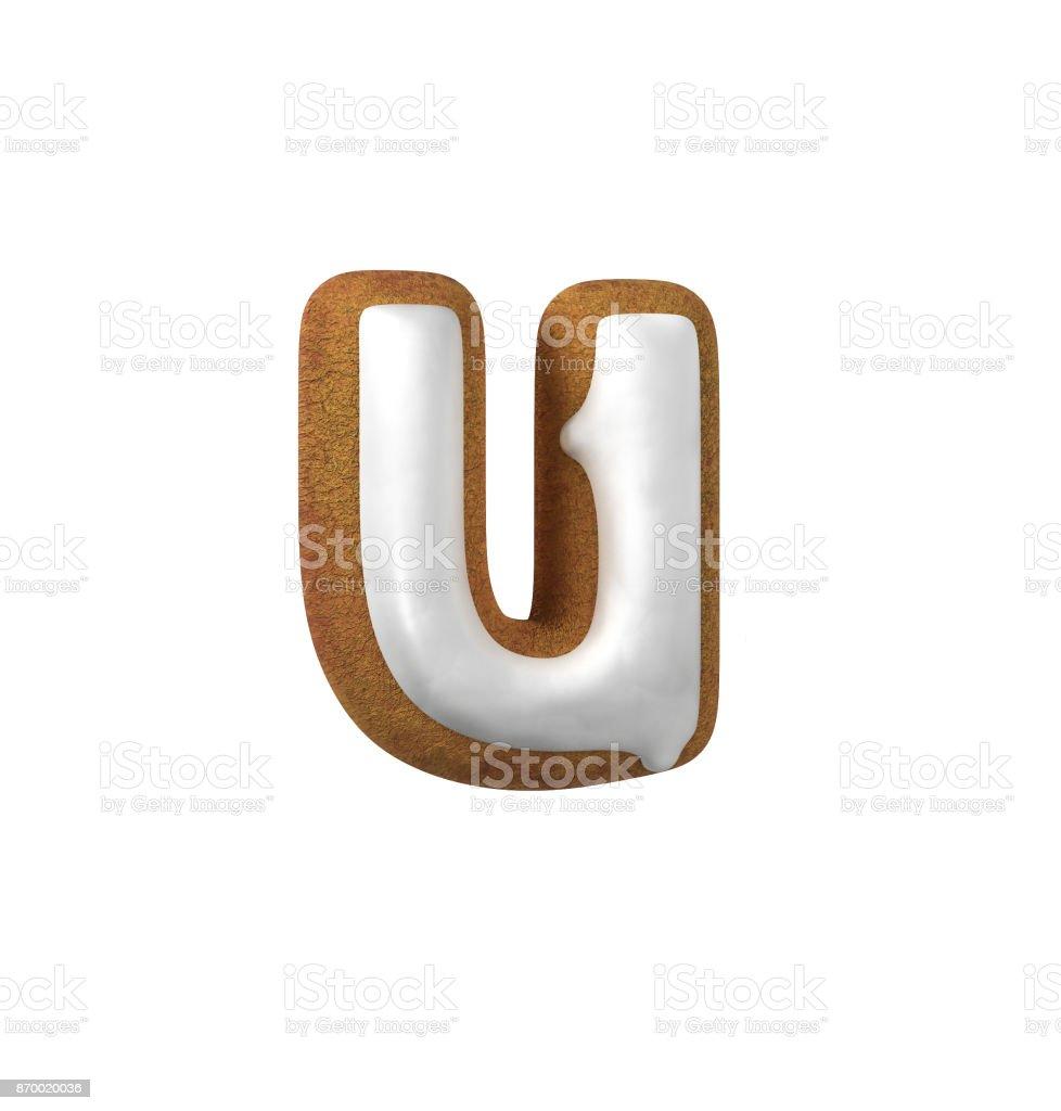 진저는 폰트입니다. 크리스마스 쿠키 알파벳 개념입니다. 작은 문자 U 스톡 사진