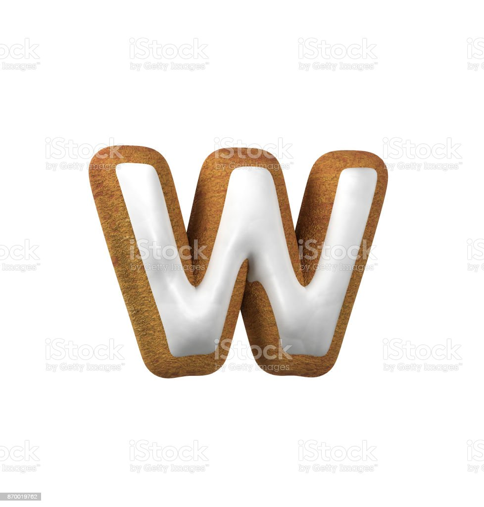 Gingerbread font. Christmas cookie alphabet concept. Small Letter W stock photo