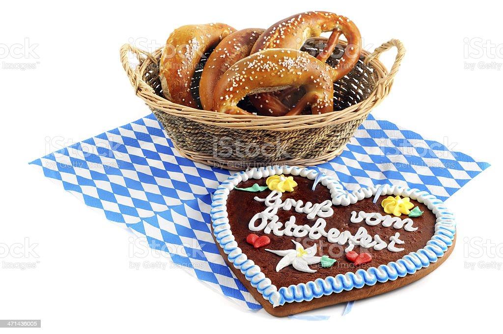 Gingerbread heart and Pretzel on blue white bavarian napkin stock photo