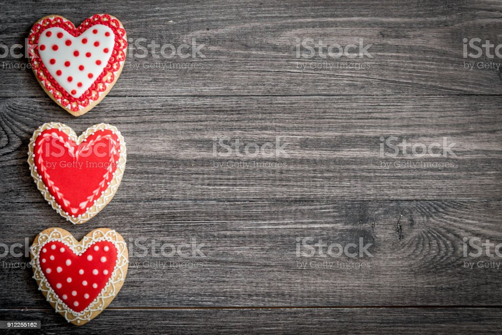 Gingerbread Heart Cookies On A Rustic Wooden Background Valentines