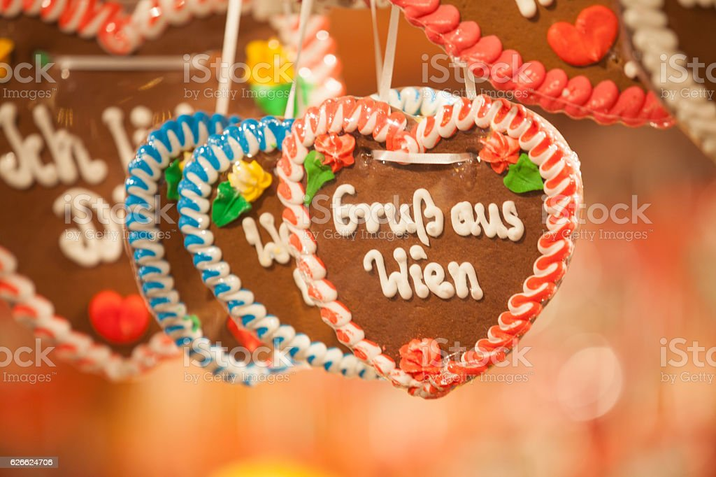 Gingerbread heart greetings from vienna stock photo more pictures gingerbread heart greetings from vienna royalty free stock photo m4hsunfo