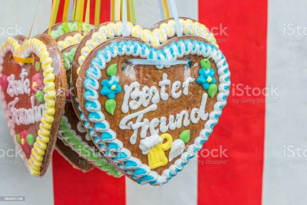 Gingerbread Hearts At A Folk Festival With German Words Best Friend