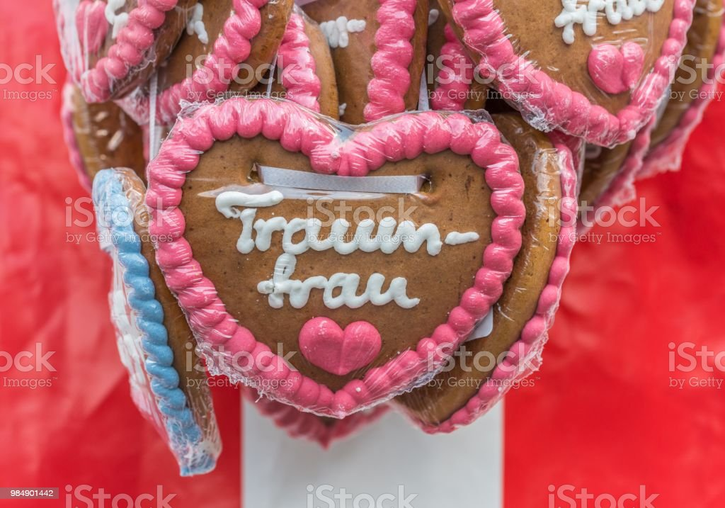 Gingerbread Hearts At A Folk Festival With German Words Dream Woman