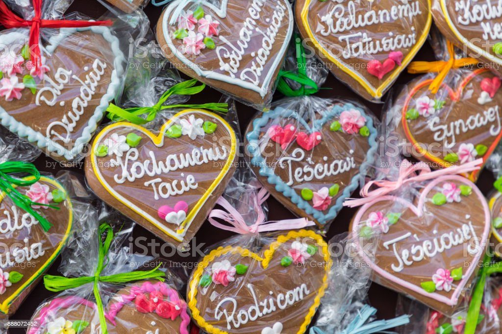 gingerbread hearts at polish christmas market cracow xmas market in poland on traditional