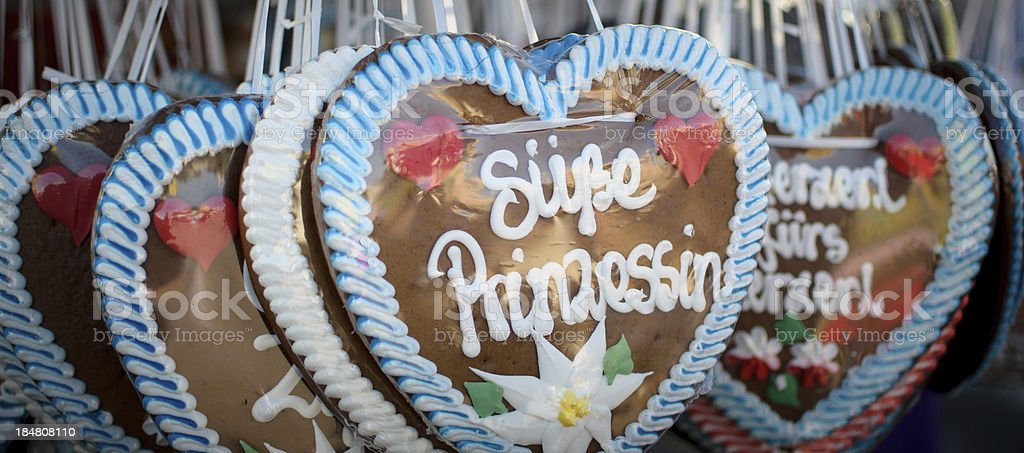 Gingerbread hearts at the Oktoberfest 2013 Munich royalty-free stock photo