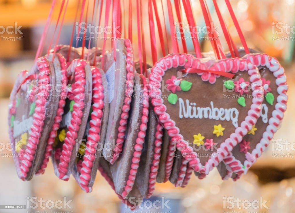 Gingerbread Hearts German Text Nurnberg Nuremberg Stock Photo More