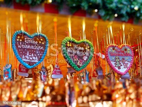 Nuremberg Christmas Market; three gingerbread hearts - lebkuchenherz - merry christmas / Frohe Weihnachten