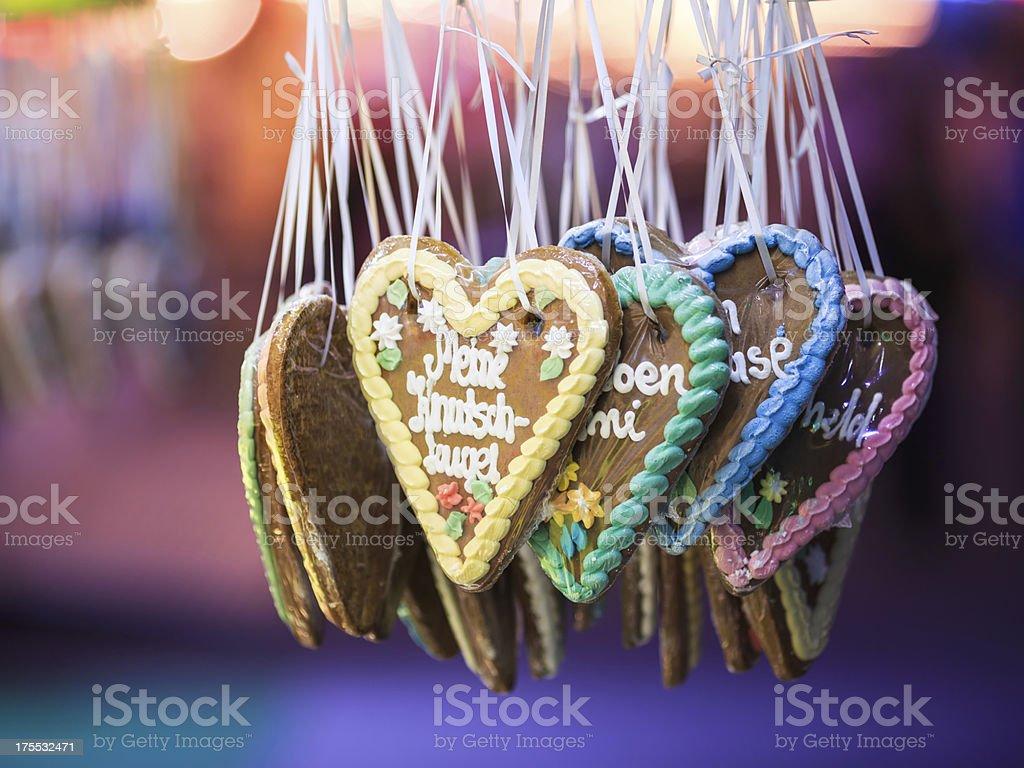 Gingerbread hearts stock photo
