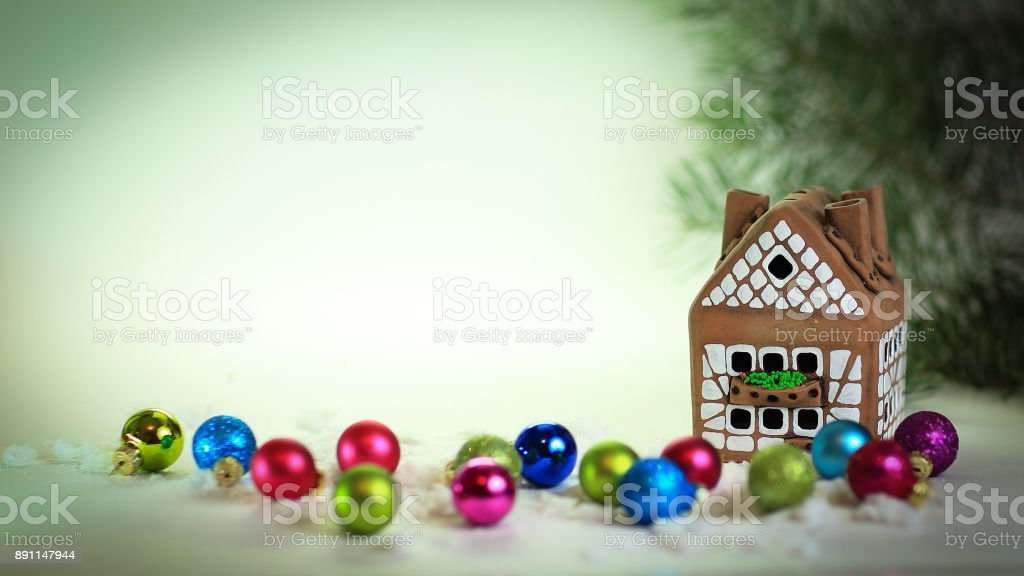 Christmas Gingerbread House Background.Gingerbread House And Gifts At A Christmas Background Stock Photo Download Image Now