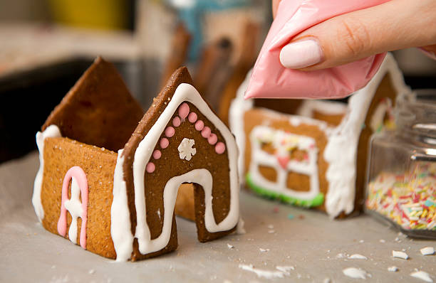 Gingerbread house, authentic hand made stock photo