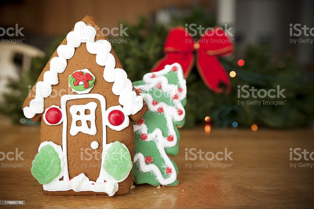 Gingerbread House, Christmas Background, Ribbon and Lights royalty-free stock photo