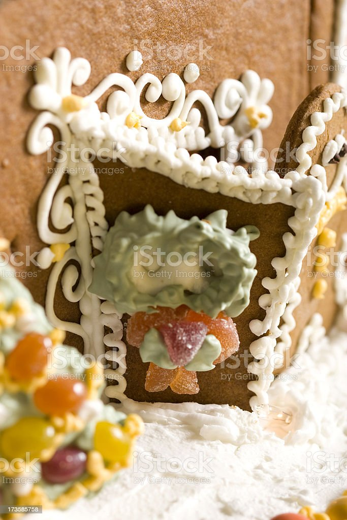 gingerbread house door with wreath royalty-free stock photo