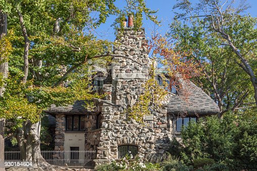 istock Gingerbread House in Bay Ridge, Trees in Autumn Colors and Blue Sky, Brooklyn, New York. 930154604