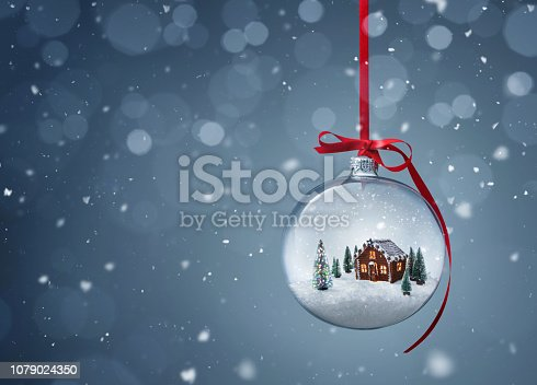 istock Gingerbread house in transparent christmas ball 1079024350