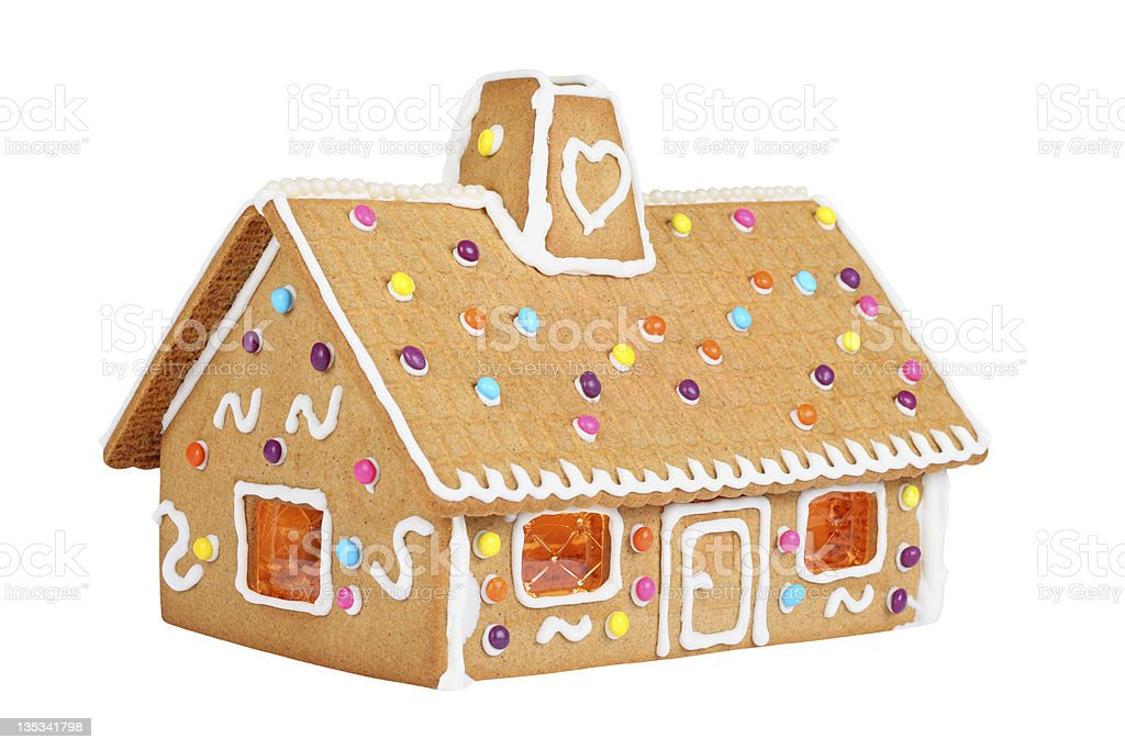 Gingerbread House Isolated On White stock photo