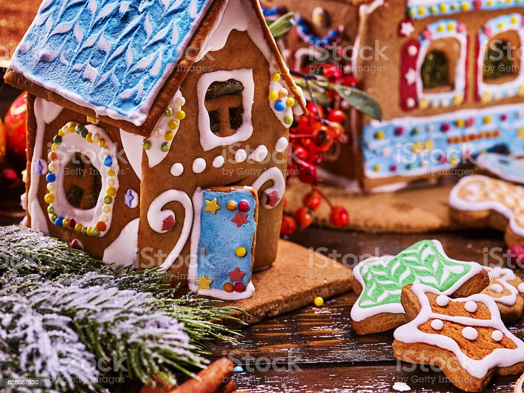 Gingerbread house with blue glaze. stock photo