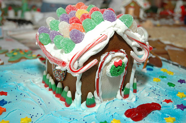 Gingerbread house with gumdrop roof stock photo