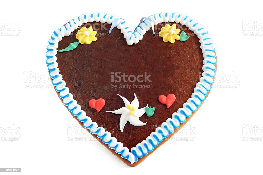 A gingerbread love heart shaped cookie stock photo