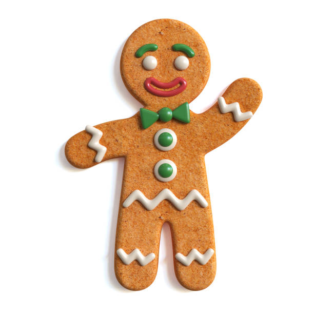 gingerbread hombre 3d renderizado aislado sobre fondo blanco - gingerbread man fotografías e imágenes de stock