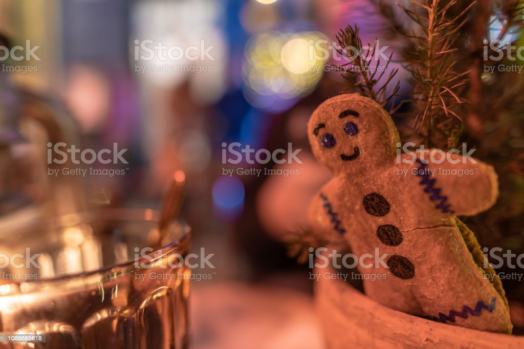 Gingerbread man and a glass of Glugg in Denmark stock photo