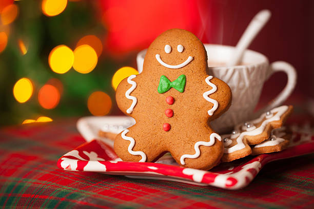 Gingerbread man and hot drink stock photo