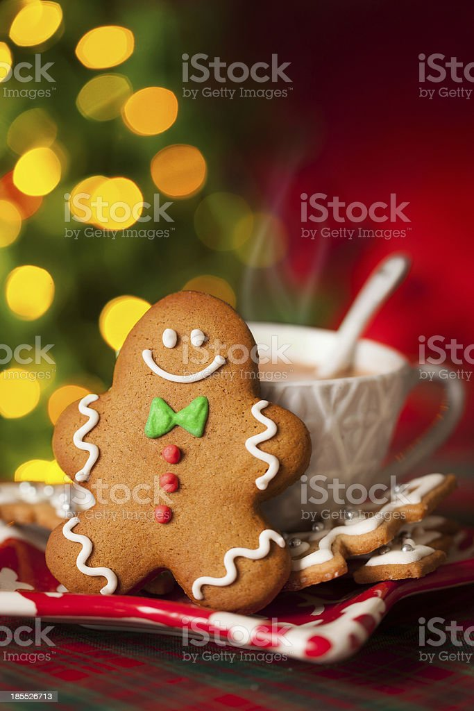 Gingerbread man and hot drink royalty-free stock photo