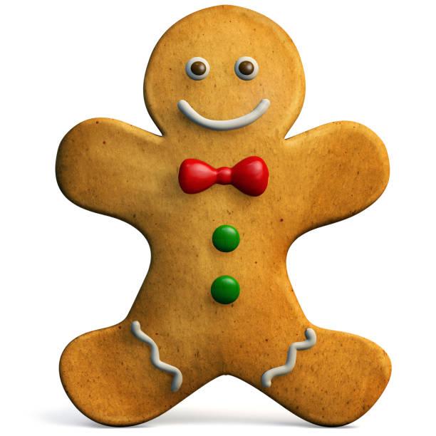 pan de jengibre hombre icono de navidad aislado - gingerbread man fotografías e imágenes de stock