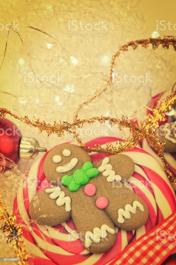 Gingerbread man  Christmas lollipop closeup Lizenzfreies stock-foto