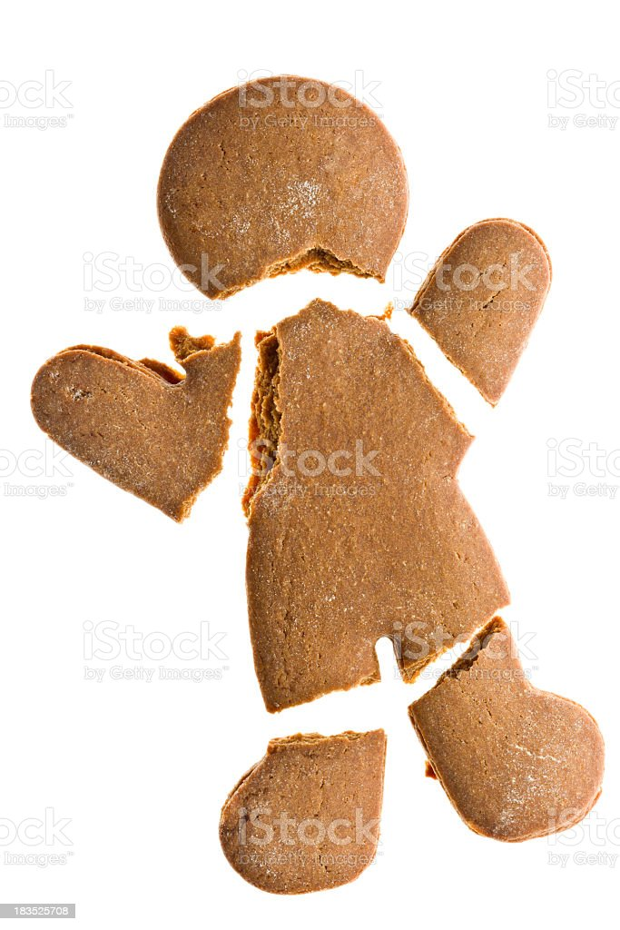 Gingerbread Man Going To Pieces Isolated stock photo