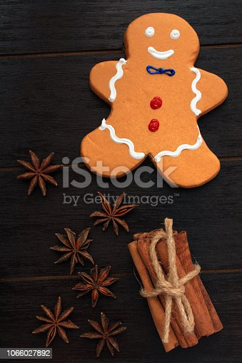gingerbread man cinnamon sticks and star anise vertical photograph