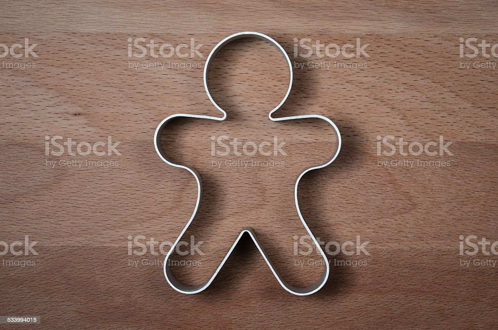 gingerbread man shaped food ring mold stock photo