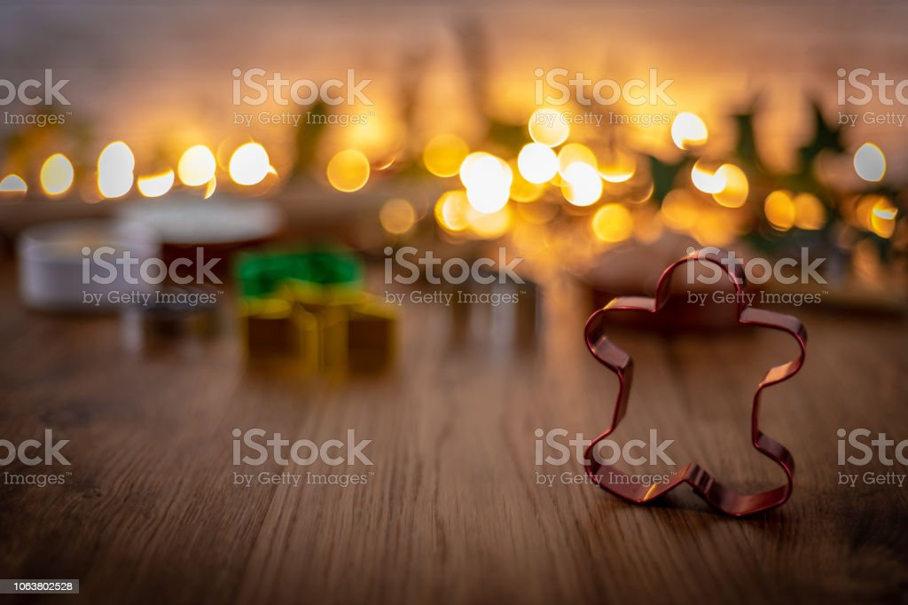 Gingerbread man shaped pastry cutters stock photo