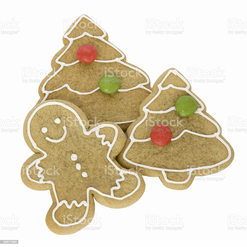 Gingerbread man with Christmas cookies royalty-free stock photo